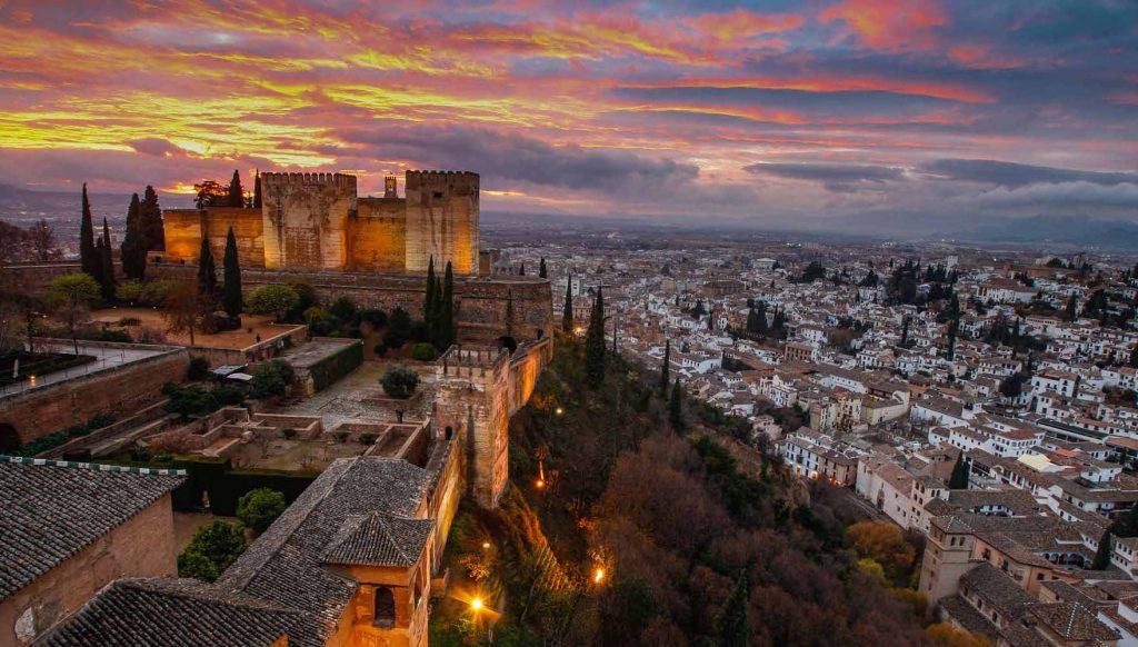 Albayzin-Old District of Granada in the Shadow of the Alhambra
